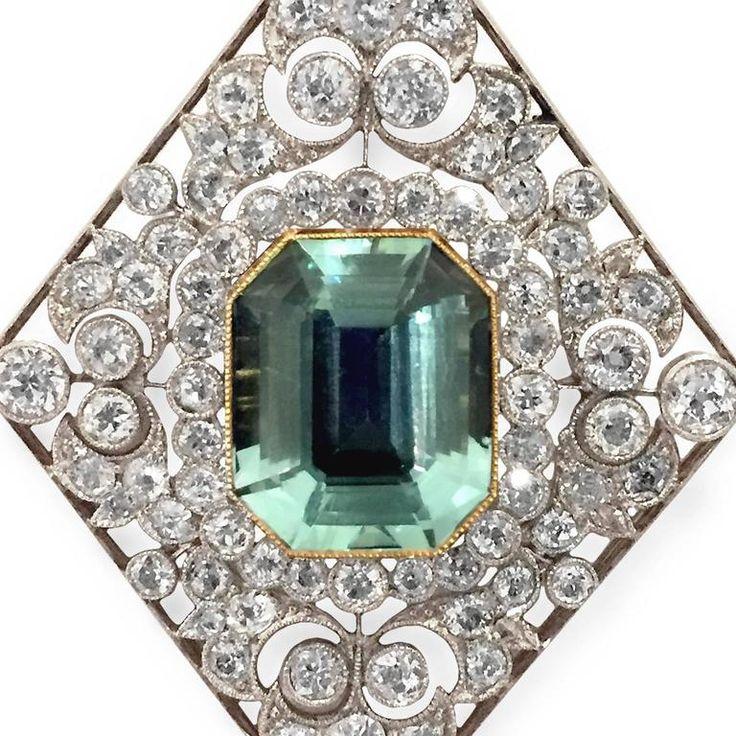 Victorian Diamond Aquamarine Pendant