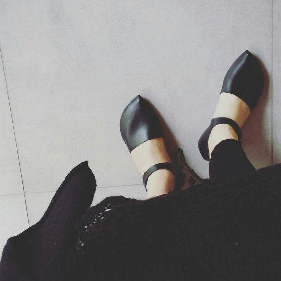 Scarpe comode scarpe donna appartamenti a punta di UnaUnaShoes