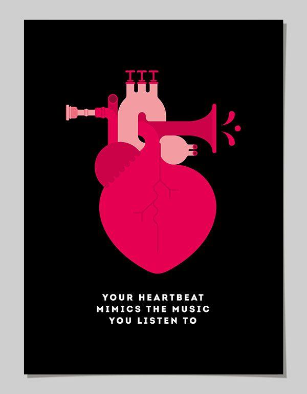 La capacidad del corazón de acompasar sus latidos a un ritmo musical o la resolución de nuestro sistema visual son sólo algunas de las curiosidades sobre el cuerpo humano ilustradas por el artista gráfico Pâté para Discovery Channel UK.