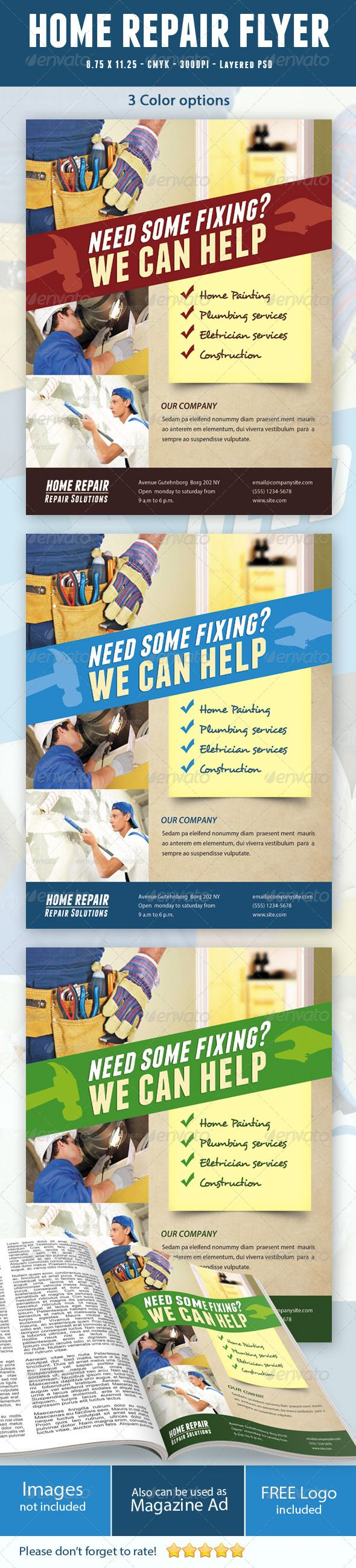 Home Repair Flyer  #GraphicRiver        Home Repair Flyer!   This Flyer Can be used in any Business like home repair,handy man,home improvement, etc     CMYK Color profile  8.75×11.25 including 0.25 bleed  300 DPI  Easy to Edit  Logo Included  Organized layers  Ready to print  Free Fonts  3 colour combinations   Font Used:  Myriad pro,Desyrel and Franchise   Images are NOT included