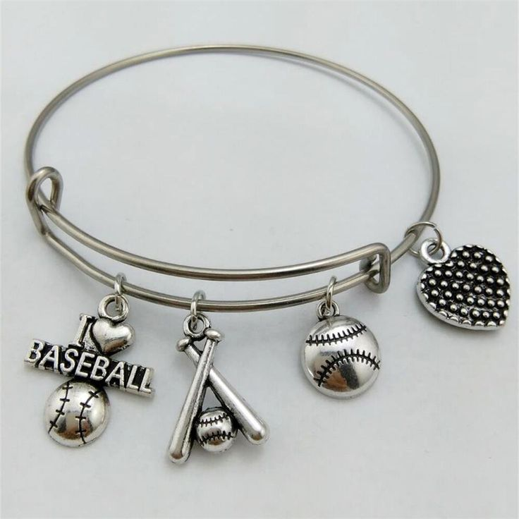 Sporty Style I Love Baseball Charm Bracelet Stainless Steel Expandable Wire Bangles With DIY Baseball Bat Jewelry for Women