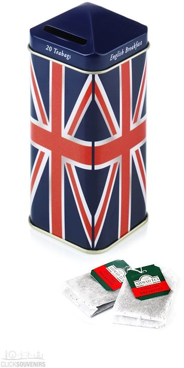Union Jack Tea Caddy Moneybox with 20 English Teabags