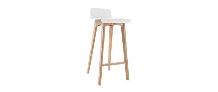 Tabouret / chaise de bar design bois naturel et blanc scandinave BALTIK