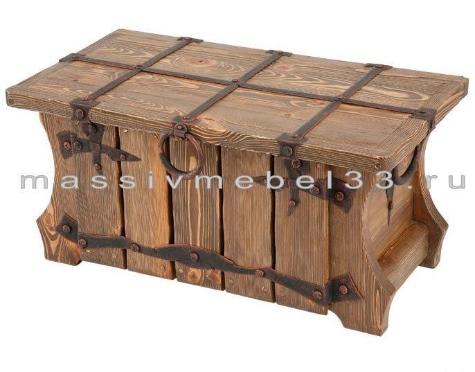 Мебель на заказ в Москве из сосны,дуба:Cундук деревянный под старину