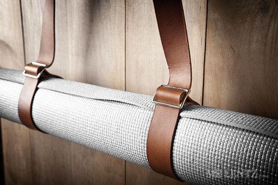 Leather Yoga Strap Yoga Mat Strap Yoga Pad Strap 070 by MrLentz