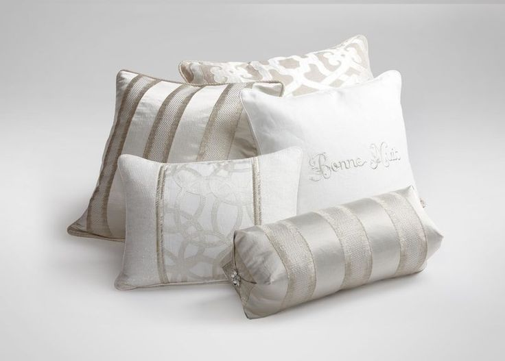 Blanc Pieced Pillow with Beaded Trim