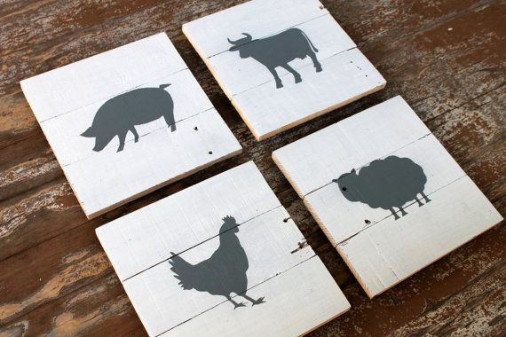 Set of 4 Wood Farm Animal Silhouette Wall Art Wooden Decor White Gray Kids Room Baby Nursery Wall Hanging Artwork Reclaimed Wood
