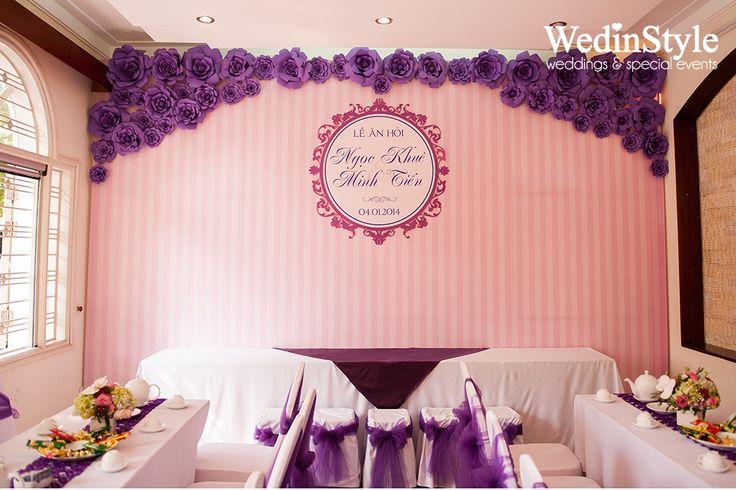 Trang trí lễ ăn hỏi, đón dâu tại nhà - Engagement Decorations - Designed and decor by WedinStyle - The Stylish Wedding Planner of Vietnam #backdrops
