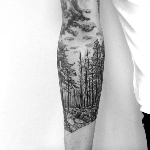 Blackwork forest by Martynas Ånioka