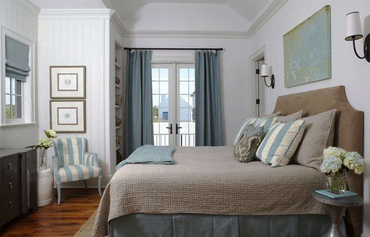 Beachy blue and brown bedroom with white beadboard walls and French doors covered in slate blue curtain. Description from decorpad.com. I searched for this on bing.com/images