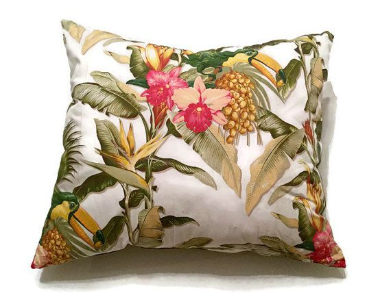 Interior design ideas! Decorative pillow featuring a colorful exotic print, silk green taffeta on the back. Tropicana luxury pillow by MyCushionBoutique.