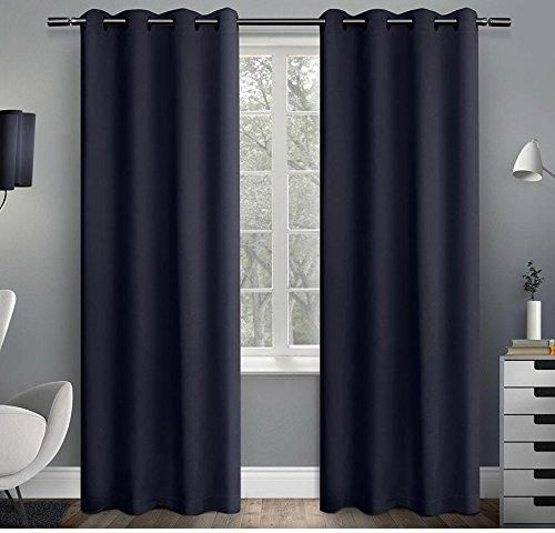 63 Inch Girls Peacoat Blue Solid Color Blackout Curtains Panel Pair Blue Color Window Drapes Kids Themed Grommet Ring Top Insulated Thermal