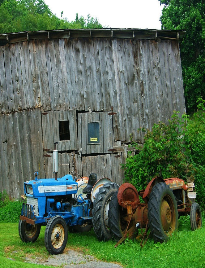 Barn & Old Tractors ~ My dad had lots of old tractors. David Brown, White, International, and an Old Ford. As well as some antique farm machinery.