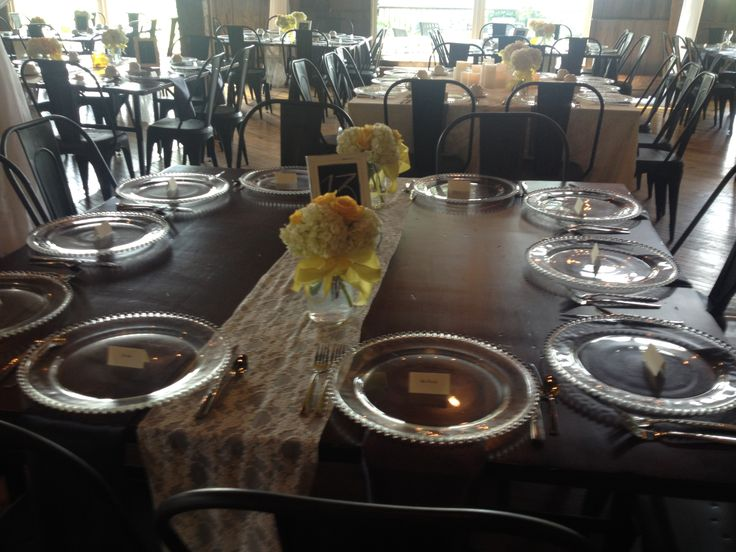 Glass Charger Plates- Restored Hardwood Tables- Lace Runner- The Barn