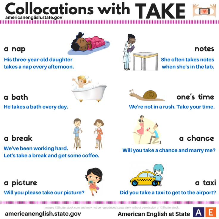 "Do you want to take a break from work? Take your time and read today's #AmericanEnglish graphic about collocations with ""take."" What other collocations with ""take"" do you know?"