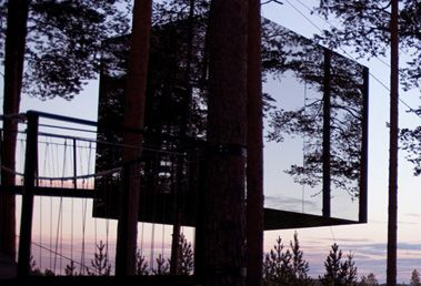 Treehotel, Harads, Sweden   Inspired by the film 'The Tree Lover' by Jonas Selberg Augustsen (in which three men from the city decide to go back to their roots by building a tree house together) the mirrored resort is renowned for its architecture.