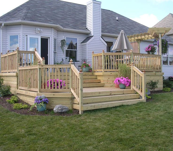 wood deck for the backyard multi level gives it a great. Black Bedroom Furniture Sets. Home Design Ideas