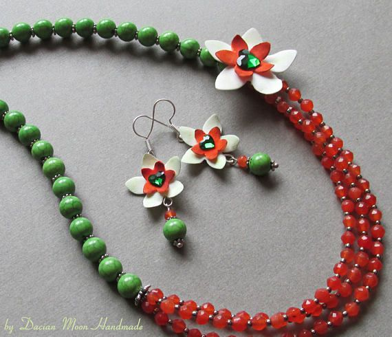 Nature jewelry set flower jewelry brown and green jewelry