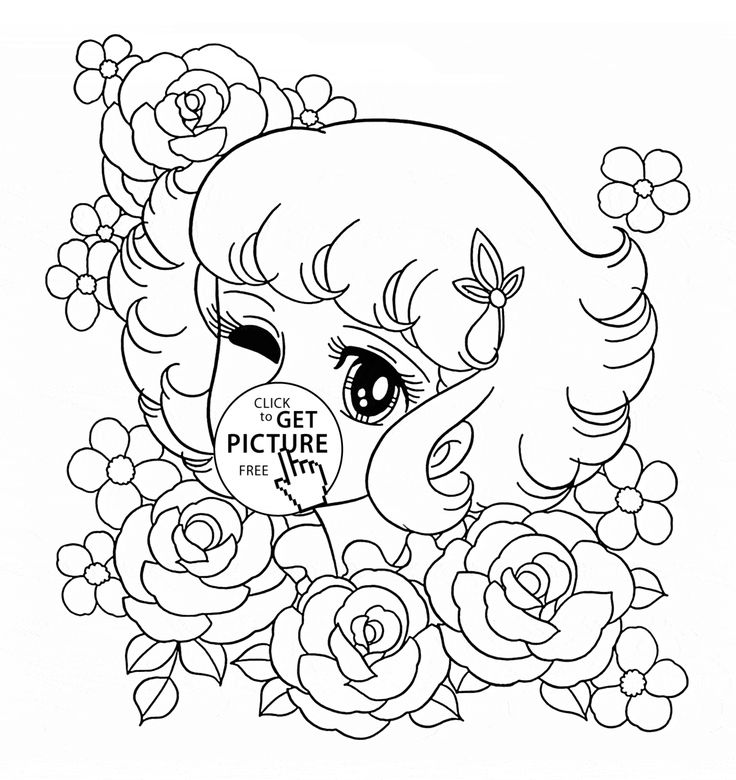 Lydie and flowers coloring page