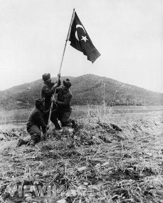 Türk Askeri Güney Kore'ye Türk Bayrağı dikerken