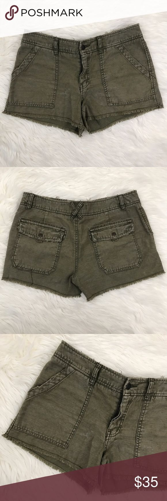 Sale! Free People Olive Green Cutoff Cargo Shorts Free People olive green utility cutoff shorts with factory distressed material. Chino style pocket detail, zipper front. Waist: 32 inches Inseam: 3 inches Free People Shorts