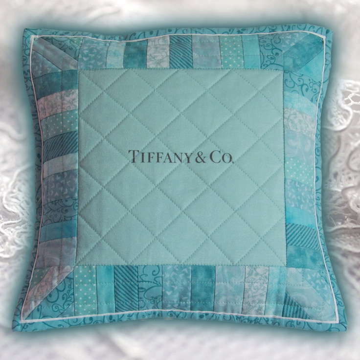 "Little Blue Pillow - 14"" x 14"" Quilted Pillow Sham in the style of ..."