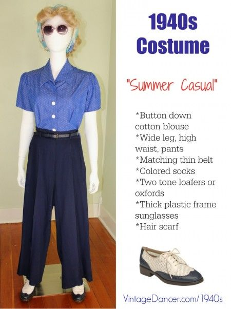 1940s fashion: summer casual pants, sunglasses and blouse (from @wearinghistory) See more 1940sfashion ideas at vintagedancer.com/1940s