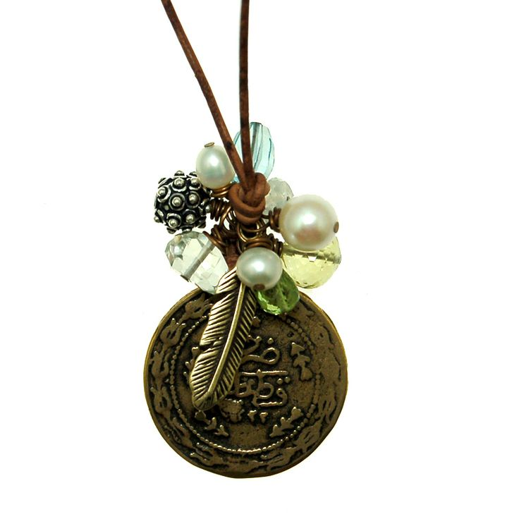 Cluster Necklace with Bronze Coin and Gems on Leather (N1925MW) $130
