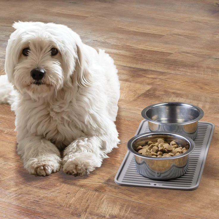 mDesign Silicone Pet Food & Water Bowl Feeding Mat for Dogs