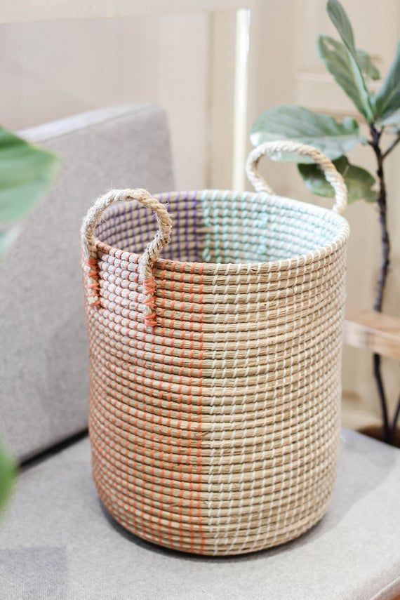 Handwoven 4colors Laundry Basket With Handle Handmade Natural
