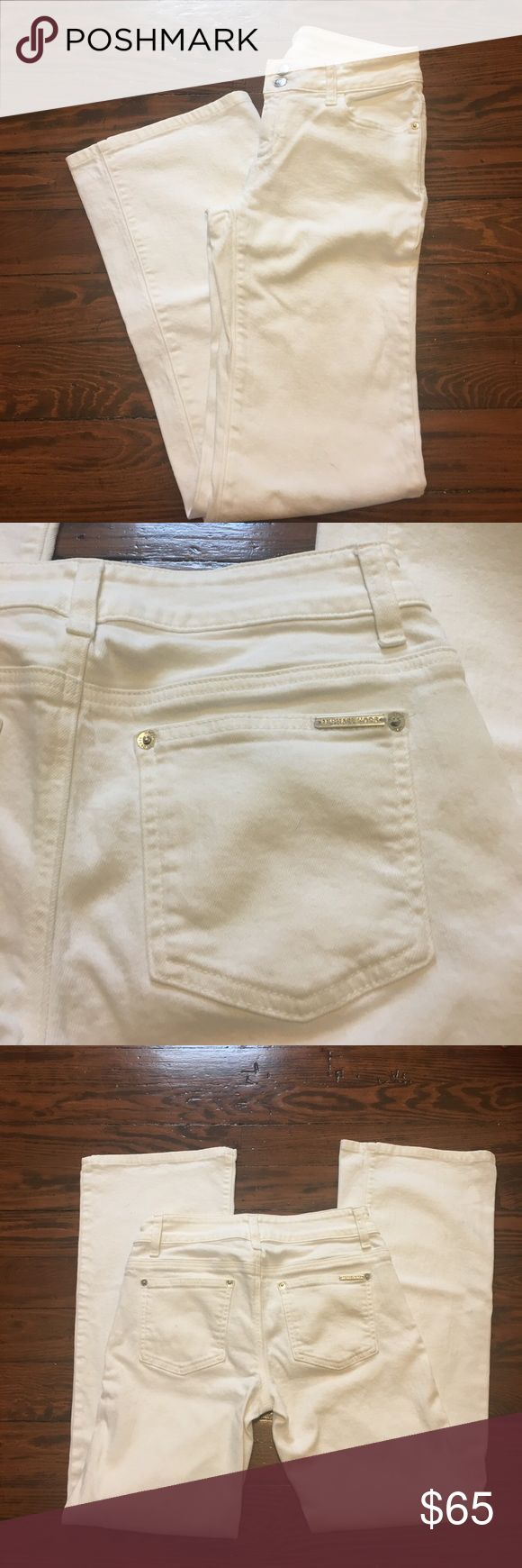 Michael Kors white bootcut jeans Just in time for summer, beautiful white bootcut jeans by Michael Kors!  Front zip closure, back & front pockets. Silver toned details. Michael Kors Jeans Boot Cut