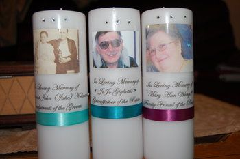 Looking to do some personalized memorial candles to display at your reception? These are so simple and easy that anyone can do them!  Supplies: - Chosen candles of any color or size. - Ribbon in your chosen color - 8.5x 11 sheet of Vellum (Frosty colored paper, foundin the scrapbooking section at craft stores) - Gems and gem glue - Photo paper - Tape gun (found at craft stores for a few dollars in the adhesive section) - You can also use heavy duty double sided tape if necessary I...