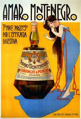 Vintage Italian Posters ~ #illustrator #Italian #vintage #posters ~ Amaro Montenegro - Tonico prezioso | Marcello Dudovich