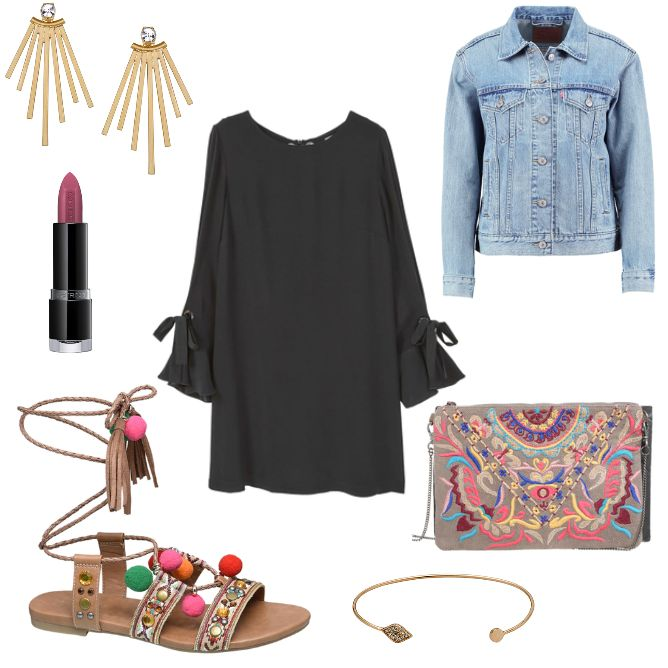 Damen Outfit 2017-06-12 - #ootd #outfit #fashion #oneoutfitperday #fashionblogger #fashionbloggerde #frauenoutfit #herbstoutfit - Frauen Outfit Outfit des Tages Sommer Outfit Armreif beige Catrice Catwalk Clutch Freizeitkleid Jeans Jeansjacke Levi's Lippenstift Mango Ohrring Ohrringe Pepe Pepe Jeans Pilgrim Sandale TOSH