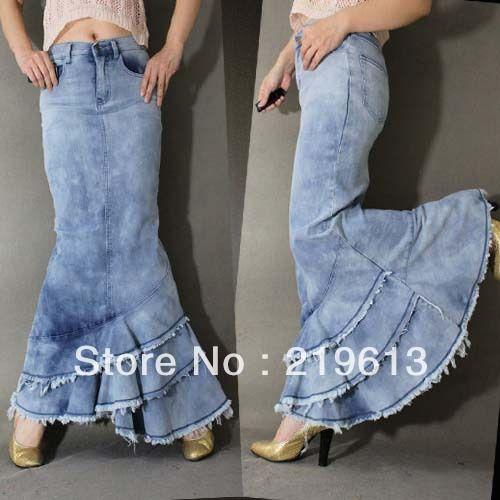 Venta al por mayor jean de mezclilla faldas largas-Compre jean de .
