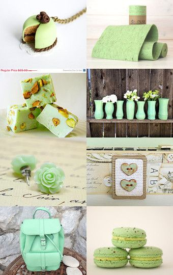 The Pistachio Collection by Jen on Etsy--Pinned with TreasuryPin.com #pistachio #green #cakenecklace #polymerclaycake