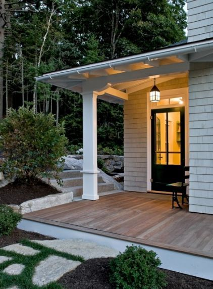 entry canopy - it's nice not have a heavy railing around the deck by keeping it only one step off the ground.