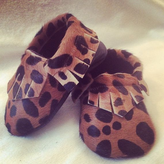 Camel Brown/Black Cheetah Hair on Leather by TwoLittleIndiansmocs