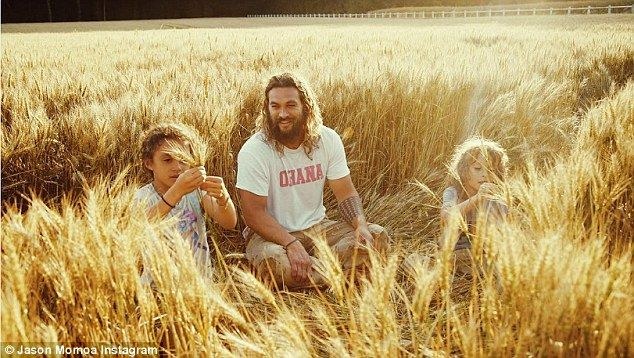 New look: Jason Momoa wanted to show off another, more sensitive side of his personality in a short movie titled Canvas of my Life starring himself, his kids and his wife Lisa Bonet