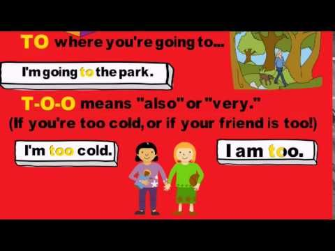 Homophones There, Their, They're, Your, You're, To, Too, Two Song by Melissa..... This song highlights some of the most confused homophones in the English language. The melody and examples provide a framework to help students retain this valuable information and apply it to their writing. http://grammarsongs.com/