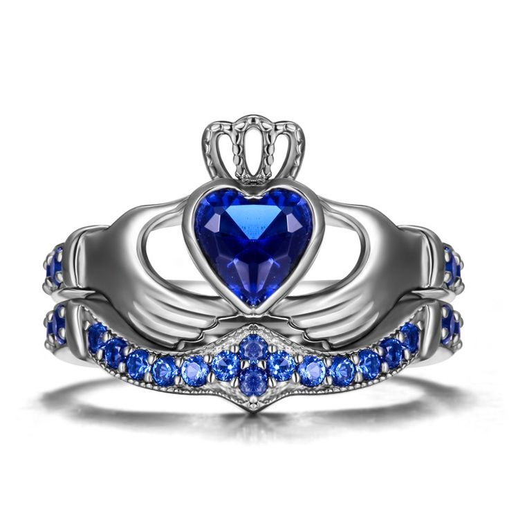 925 Sterling Silver Black Gold Plated Claddagh CZ Engagement Ring Set $51.95