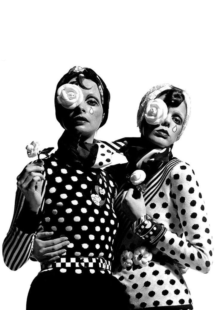 Black And White Polka Dots Photo By Alex Clain Alfa Castaldi 1972 Dresses Chloé Vogue Italia January