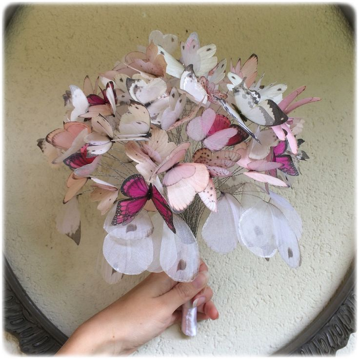 Another custom butterfly bouquet is ready! White, pale pink and bright pink  for a super romantic bride!