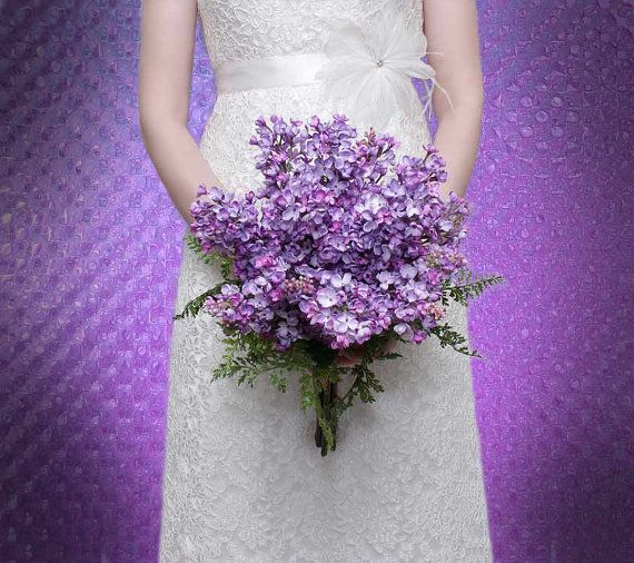 Lilac and lavender wedding bouquet