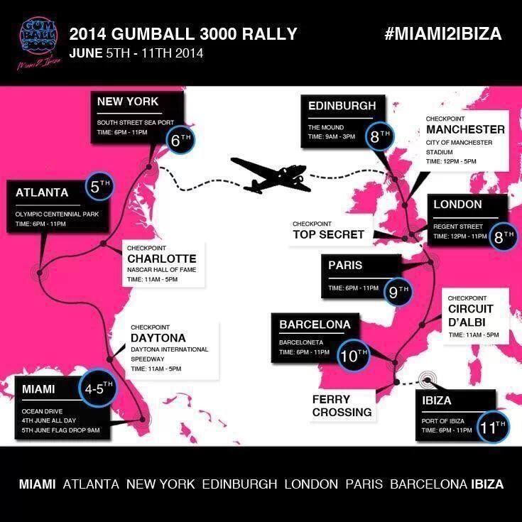 Aanstaande donderdag gaat alweer de 16e Gumball3000 rally van start. Dat jaar is de start in Miami en de finish op Ibiza. Dit belooft weer een waanzinnige rally (ik bedoel race) te worden.... www.almagazine.nl