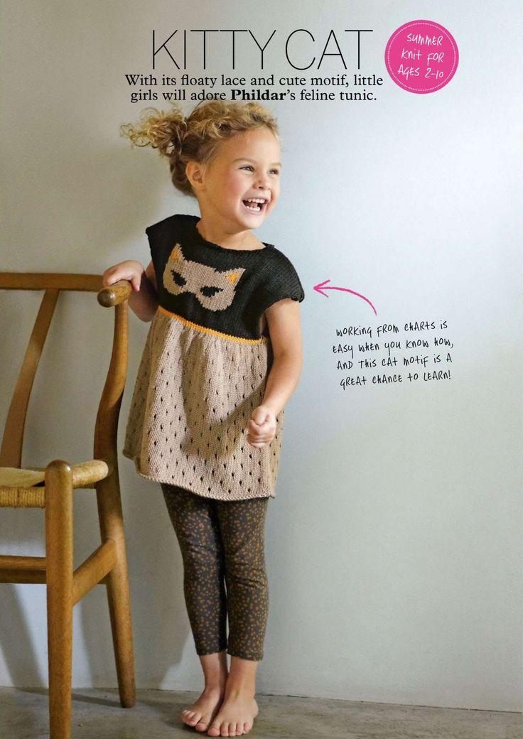 Вязание для детей платья Cat из журнала Simply Knitting, август 2014. Вязание платья для девочек с мотивом кошечки на полочке