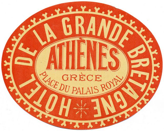 The Grande Bretagne Hotel in Athens.  And their distinctive 'Hotel' luggage label