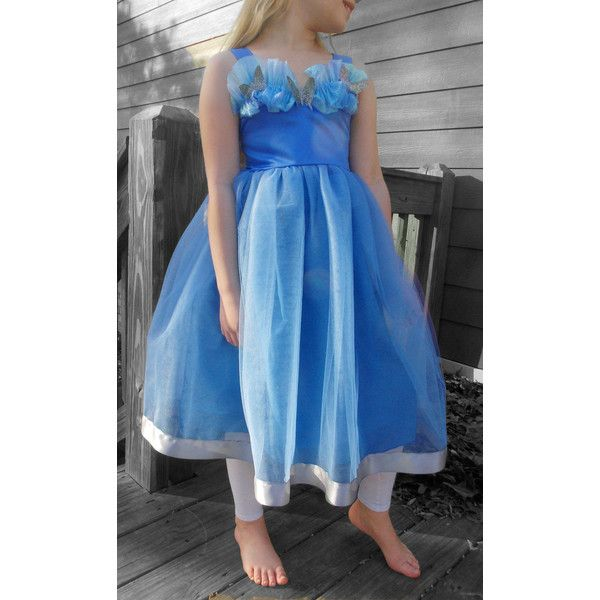 Cinderella Tutu Dress blue party dress, first birthday, vacation... (140 BRL) ❤ liked on Polyvore featuring costumes, butterfly princess costume, silver costume, princess halloween costumes, cinderella halloween costume and blue halloween costume