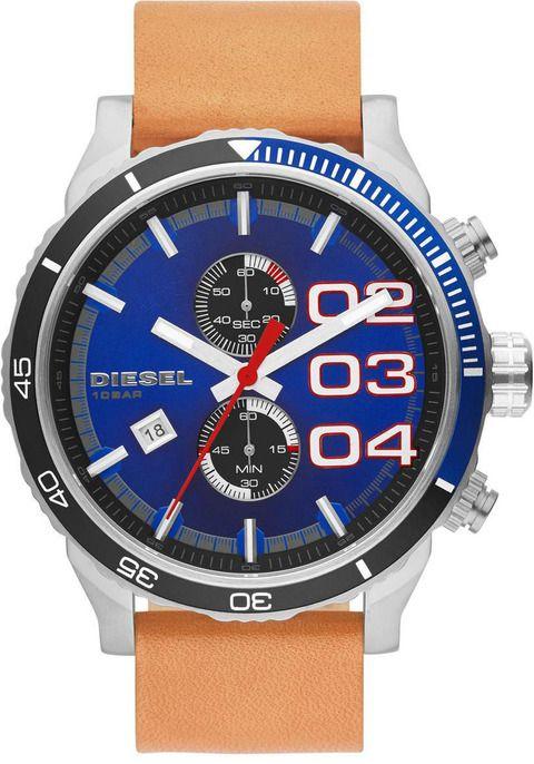Diesel DZ4322 Double Down 48 Navy Blue & Tan Chronograph