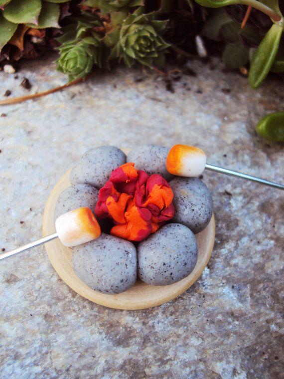 Miniature Fire Pit Campsite for Fairy Garden by HelloLittleCloud